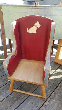 Vintage Leather Toddler Chair Antique Highchair Mid Century MCM Chair Vtg Arm Chair Red and Blue Bedroom Decor Playroom Decor