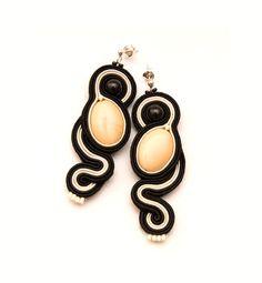 Simple elegant black & ivory earrings with by MANUfakturamaanuela, $33.00