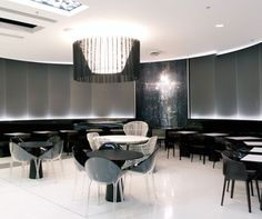 The Star, Sydney. Designed by Fitzpatrick + Partners and MBBD in collaboration with the fabrication skills of Design Hub, the project features Staron® Solid Surfaces in high gloss Onyx as the seat backs and kicks.