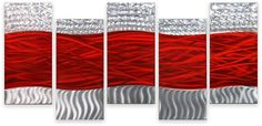 Amazon.com: Metal Wall Art Contemporary Abstract Modern Sculpture 5 Panels HUGE Red Waves: Home & Kitchen