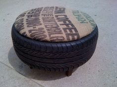 Re-purposed tires transformed into ottomans. Lid is removable for storage within the tire. Designer: Kirk Kempker Jr.