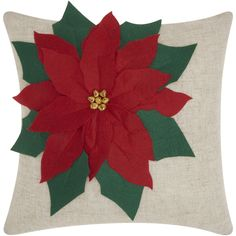 Mina Victory Home for the Holiday Poinsettia Throw Pillow