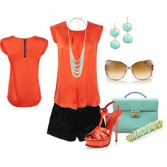 """coral and Mint"" by verydefinitely on Polyvore"