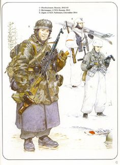 LUFTWAFFE - 1 Oberstleutnant der Fallsgirmjaeger, Russia, 1943 - 2 Schi-Shutze, LFJD, Russia 1943 - 3 Fallsgirmjaeger, 5 FJD, Ardennem dic, 1944