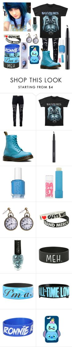"""Emo Girl"" by xxanormalalienxx ❤ liked on Polyvore featuring Dr. Martens, MAC Cosmetics, Essie, Maybelline and Disney"