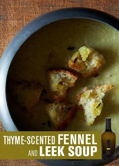THYME-SCENTED FENNEL AND LEEK SOUP | Uproot Wines & Food52 | This creamy, flavorful soup pairs extremely well with Uproot's buttery 2011 Reserve Sauvignon Blanc. #DrinkUproot - http://www.drinkuproot.com/blogs/recipes/18176143-thyme-scented-fennel-and-leek-soup