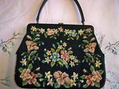 Vintage Floral Needlepoint Leather Handbag Purse