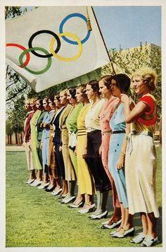 1932 Summer Olympics Women Olympic Flag 5 Rings Print Original | eBay