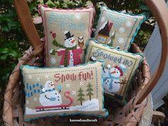 Karen's Handiwork: My Phat Men. Cross Stitch Christmas Ornaments, Xmas Cross Stitch, Cross Stitch Pillow, Christmas Tree Pattern, Beaded Cross Stitch, Xmas Ornaments, Christmas Cross, Cross Stitching, Cross Stitch Embroidery