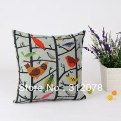 Vintage Antique  Bird Printed Linen Cushion Cover for Couch Bedding as Chrismtas Gifts, 45 * 45 CM