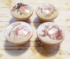 Shabby Chic Pink Rose Flower Knob Drawer Pulls by WoodlandCrew
