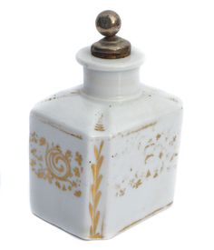 Victorian Tea Caddy Ceramic with Metal Top and by BiminiCricket
