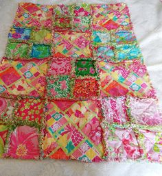 Lilly Pulitzer Little girl Rag Quilt 25 different by dmaeredesigns