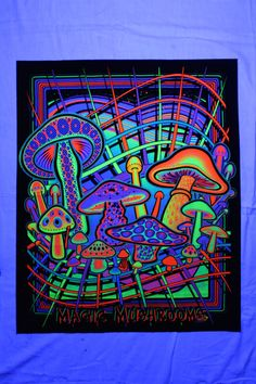 * This Magic Mushrooms Blacklight reactive tapestry / fabric Opticz poster really pops under black light. *The silk-screened print features colorfully bright UV Reactive ink on 100% cotton twill fabric with sewn edges that will not rip. *This poster sized Tapestry print measures approx.