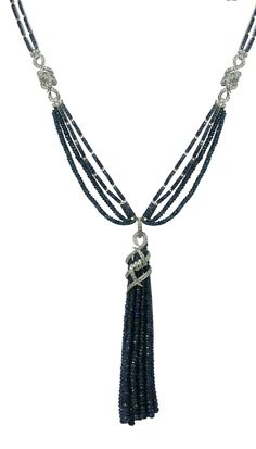 Stephen Webster 18-carat White Gold Forget Me Knot Tassel Necklace with Sapphire Beads and Black and White Diamonds.