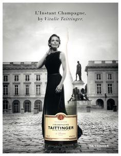 Brut Réserve, Champagne Taittinger. Advertisement with Vitalie, daughter of the family Taittinger.