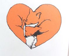 Love heart fox illustration home decor drawing by mylovebubble