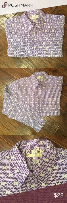 Cinch Modern Fit Shirt Excellent condition!  Men's Cinch Modern Fit button up dress shirt. Left front chest pocket.  Slightly narrowed body. Adjustable button cuffs. 100% Cotton.  Purple and yellow print. Shirts