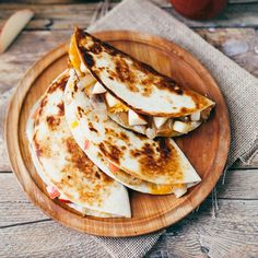 Crisp apples, sharp cheddar and soft sweet onions give a satisfying flavor and texture to these quesadillas.