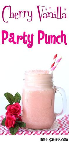Cherry Vanilla Party Punch Recipe! ~ from TheFrugalGirls.com ~ this easy Pink Punch is perfect for Baby Showers, Bridal Showers and Weddings! SO simple and delicious! #punches #recipes #thefrugalgirls