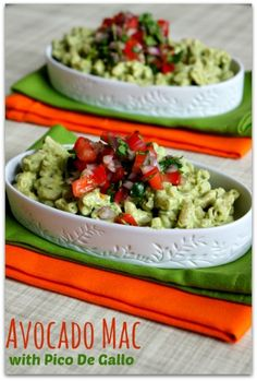 Recipe for Creamy Avocado Mac with Pico de Gallo (Substitute whipped Silken Tofu for the yogurt to make it Vegan).
