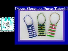 Rainbow Loom PHONE or PURSE with Button Flap & strap. Designed and loomed by Jacy at Craft Life. Click photo for YouTube tutorial. 06/20/14.