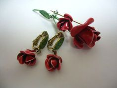 Vintage Red Rose Brooch and Clip Earrings by GrannysInspirations