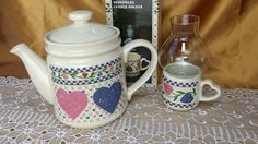 1986 Hearts Delight Collection Tea Pot and Candle Holder - kitcsh farmhouse…