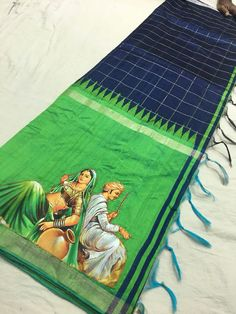 Fabric Painting On Clothes, Painted Clothes, Fabric Art, Saree Painting Designs, Fabric Paint Designs, Embroidery Suits, Hand Embroidery Designs, Banarasi Sarees, Silk Sarees