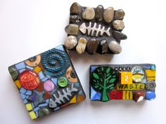 3 Mosaic Magnets Set of 3 Fun Funky Original Mixed by ShawnDuBois, $13.00