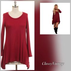 Made in USA. Wine asymmetrical hem tunic. NWT Made in USA! These tops run true to size. 95% Rayon and 5% spandex. Asymmetrical hem and long sleeves. The last 3 pics are if actual item. The manikin is five foot six. The Hanger Tops Tunics