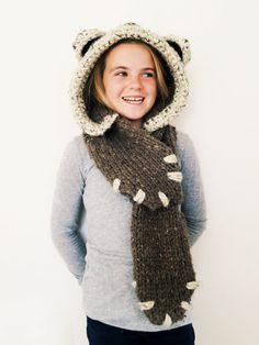 PATTERN for Bear Hat Hood Cowl Scarf Knit by TwoOfWandsShop