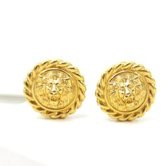 Gold Tone Lions Door Knocker Lions Head Clip On Earrings Statement Chunky Earrings Vintage Estate Runway Costume Jewelry 1980s High End by TreasureTrovebyTish on Etsy
