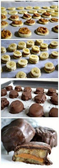 Chocolate Covered Frozen Banana and Peanut Butter Bites - this would be delicious vegan-ized