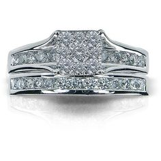 1 Carat T.W. Square Diamond 10kt White Gold Bridal Set #whitediamonds
