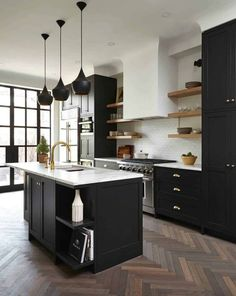 Modern And Trendy Kitchen Cabinets Ideas And Design Tips – Home Dcorz Black Kitchen Cabinets, Kitchen Cabinet Colors, Black Kitchens, Kitchen Colors, Cool Kitchens, Brass Kitchen, Green Cabinets, Kitchen Black, Kitchen Drawers