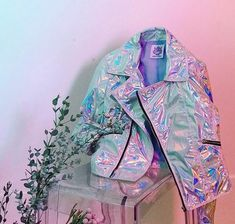HL jacket fσℓℓσω fσя мσяє; @нσ∂αуαвє13 - #holo #holographic #rainbow #bag #style #mood #color #tumblr #opal #glitter #cool #shoes #hologram
