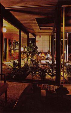 Eichler atrium in mid century modern home