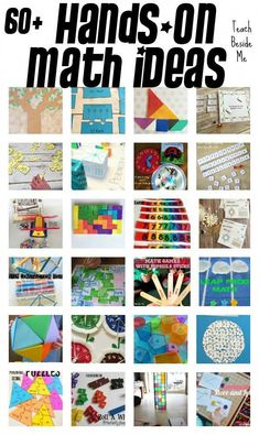 "60 Elementary Hands-On Math Teaching Ideas. ""Hands-on learning is incredibly important for kids. There are a million reasons why! Today I am highlighting more than 60 elementary hands-on math teaching ideas that I have featured over the years on my site. Math For Kids, Fun Math, Math Games, Math Activities, Math Enrichment, Math Tutor, Teaching Math, Kinesthetic Learning, Creative Teaching"