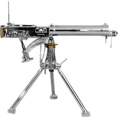 Nickel-Polished Vickers Machine Gun on Tripod Australia up to 1945 Nickel-Polished Vickers Machine Gun on Tripod. The gun (now decommissioned) has been restored and polished with nickel resulting in a striking and unusual display object. Big Guns, Cool Guns, Weapons Guns, Guns And Ammo, Light Machine Gun, Machine Guns, Assault Weapon, Fire Powers, Fantasy Weapons