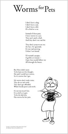 """Funny children's poem about having worms for a pet. Great for classroom reading lessons for kindergarten, and grade, common core, and for ESL lessons. Excerpt from the poetry collection, """"Suzie Bitner Was Afraid of the Drain"""" by Barbara Vance. Writing Poetry, Poetry Books, Poetry Quotes, Poem About Myself, Holiday Homework, Kids Poems, Esl Lessons, Reading Response, Classroom Projects"""