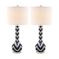 Check out the Safavieh LIT4092 Chevron 1 Light Long Neck Ceramic Table Lamp priced at $199.94 at Homeclick.com.