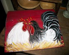 Your place to buy and sell all things handmade Rooster Painting, Rooster Art, Rooster Decor, Farmhouse Paintings, Chicken Painting, Bird Houses Painted, Rock Painting Ideas Easy, Lap Desk, Chickens And Roosters