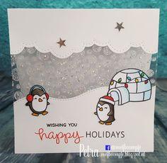Meijboompjes Creatieve Creaties: Happy holidays  Pinguins snow cool, texture paste, glitters, lampjes Baaah humbug, tekst Meow youdoin'? en van Winter penguin
