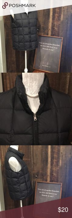 """Eddie Bauer Black Goose Down Puffer Vest Black puffer vest filled with goose down. Fully zippered. Two exterior pockets with zippers, one interior pocket with Velcro closure. Approximate measurements are taken with garment laying flat. Shoulder to hem: 24"""" Armpit to armpit: 20"""" Eddie Bauer Jackets & Coats Vests"""