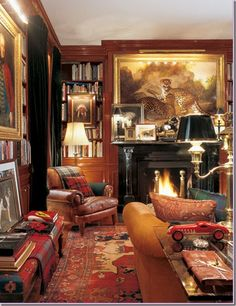Home of Ralph Lauren - layering tartans, paisleys, and paintings