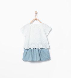 Imagem 2 de Vestido combinado de ganga da Zara