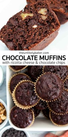 Chocolate ricotta muffins are soft and tender, packed with chocolate flavour, so easy to make. Make them for breakfast and brunch, afternoon snack, lunch boxes, picnics, potlucks and more. Check out the easy recipe with lots of baking tips and FAQs. Pastry Recipes, Muffin Recipes, Gourmet Recipes, Snacks Recipes, Healthy Snacks, Dessert Cake Recipes, Dessert Dishes, Dessert Ideas, Chocolate Muffins