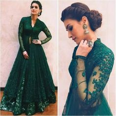 Hunter Green Beaded Two Pieces Formal Dresses Evening Wear With Long Sleeves Beaded Lace Evening Gowns Floor Length V Neck A-Line Prom Dress Indian Gowns Dresses, Pakistani Dresses, Indian Anarkali, Evening Dresses, Prom Dresses, Bride Dresses, Dress Prom, Dress Hire, Dresses Uk