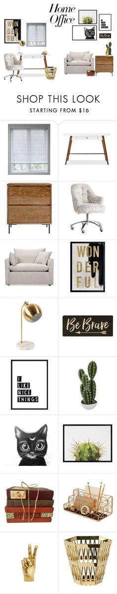 """Home Office"" by marianvirtua on Polyvore featuring interior, interiors, interior design, hogar, home decor, interior decorating, Arlo Blinds, PBteen, Volo Design y Oliver Gal Artist Co."